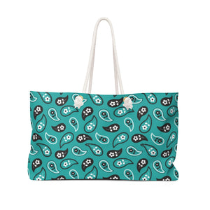 Turquoise Paisley Pattern Weekender Bag Beach Back With Rope Handles