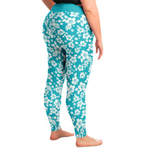 Load image into Gallery viewer, Turquoise and White Hawaiian Hibiscus Flower Pattern Plus Size Leggings 2X-6X Squatproof