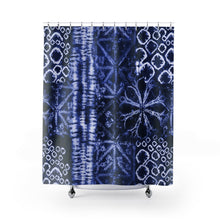 Load image into Gallery viewer, Tie Dye Patten Shibori Style Blue and White Printed Shower Curtain
