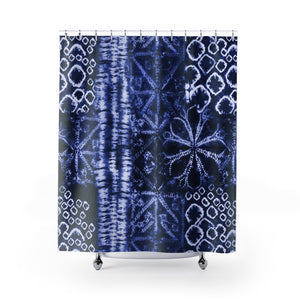Tie Dye Patten Shibori Style Blue and White Printed Shower Curtain