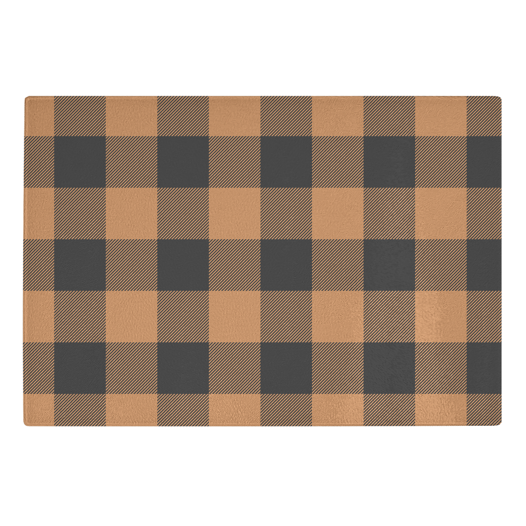 Pumpkin Spice and Black Buffalo Plaid Tempered Glass Cutting Board Farmhouse Fall Decor
