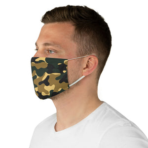 Green and Brown Camo Printed Cloth Fabric Face Mask Colorful Green, Yellow, Brown and Black Camouflage