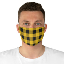 Load image into Gallery viewer, Yellow and Black Buffalo Plaid Printed Cloth Fabric Face Mask Country Buffalo Check Farmhouse Pattern