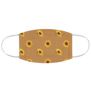 Brown With Sunflower Pattern Printed Cloth Fabric Face Mask Farmhouse Country