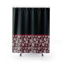 Load image into Gallery viewer, Baroque Floral Shower Curtain In Red Contrast Color Block Pattern
