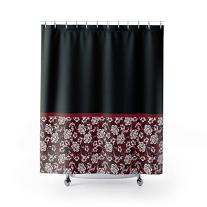 Baroque Floral Shower Curtain In Red Contrast Color Block Pattern