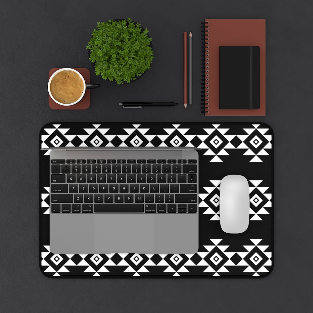 Black and White Desk Mat With White Tribal Design Ethnic Pattern