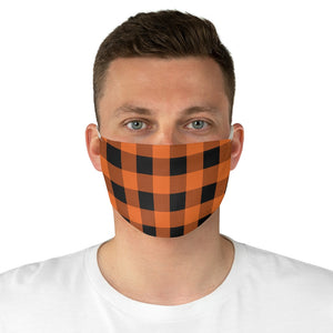 Orange and Black Buffalo Plaid Printed Cloth Fabric Face Mask Country Buffalo Check Farmhouse Pattern