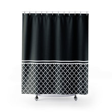Load image into Gallery viewer, Black and White Quatrefoil Color Block Contrast Shower Curtain