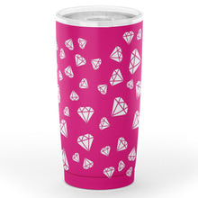 Load image into Gallery viewer, Hot Pink With White Diamonds 20 oz Travel Coffee Mug Tumbler Stainless Steel Insulated Water Cup