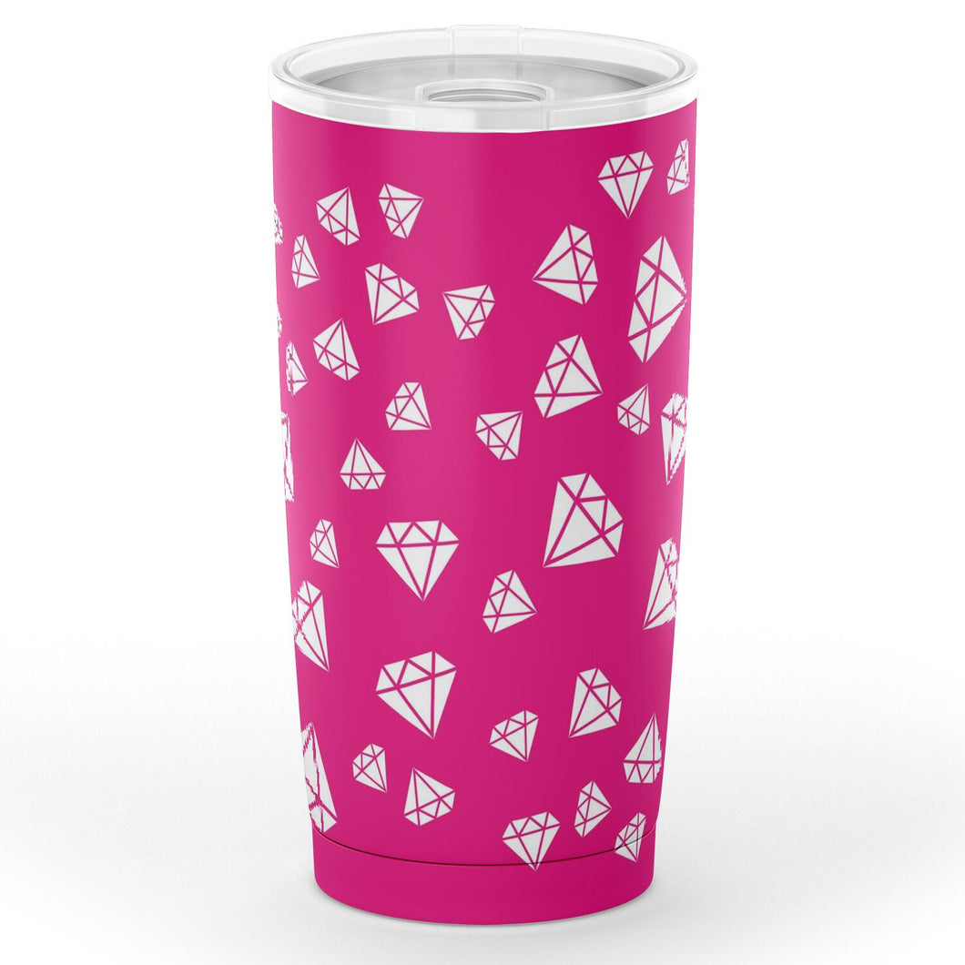 Hot Pink With White Diamonds 20 oz Travel Coffee Mug Tumbler Stainless Steel Insulated Water Cup