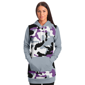 Gray and Purple Camouflage Longline Hoodie Dress With Solid Gray Sleeves, Pocket and Hood