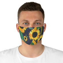 Load image into Gallery viewer, Blue With Sunflower Pattern Printed Cloth Fabric Face Mask Farmhouse Country