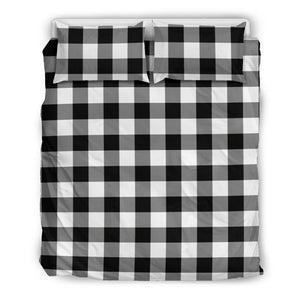 Black White Buffalo Plaid Duvet Cover and Pillow Cases Bedding Set