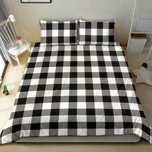 Load image into Gallery viewer, Black White Buffalo Plaid Duvet Cover and Pillow Cases Bedding Set