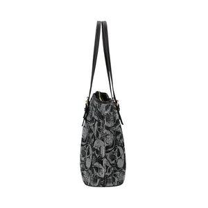 gray and black skull tote Leather Tote Bag/Small (Model 1651)