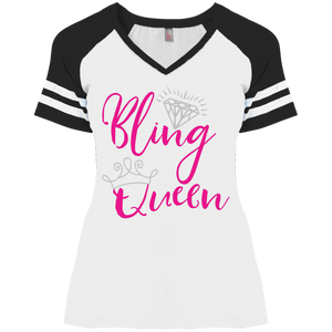 Women's Bling Queen Tee Short Sleeve With Stripes Sizes To 4XL Paparazzi
