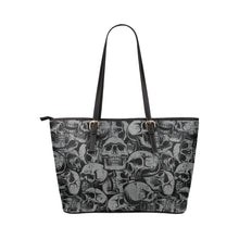 Load image into Gallery viewer, gray and black skull tote Leather Tote Bag/Small (Model 1651)