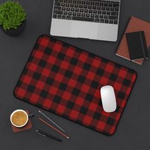 Load image into Gallery viewer, Red and Black Buffalo Plaid Desk Mat