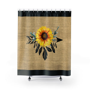 Sunflower Dreamcatcher on Boho Rustic Burlap Style Printed Shower Curtain With Black Trim