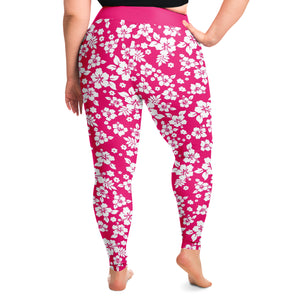 Hot Pink and White Hibiscus Hawaiian Flower Pattern Plus Size Leggings 2X-6X Squatproof
