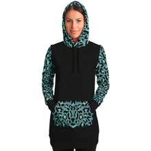 Load image into Gallery viewer, Black Longline Hoodie Dress With Minty Teal Leopard Print Contrast Sleeves, Pocket and Hood