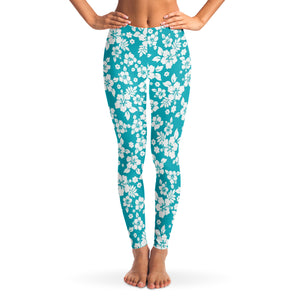 Teal and White Hibiscus Flower Hawaiian Pattern Leggings XS - XL