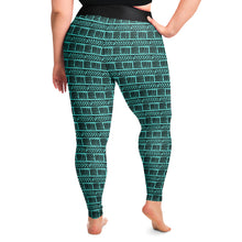 Load image into Gallery viewer, Teal Ethnic Pattern Plus Size Leggings Boho Tribal Aztec 2X-6X Squat Proof
