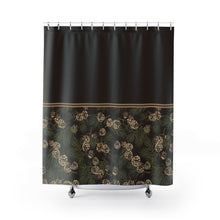 Load image into Gallery viewer, Pine Cone Pattern on Contrast Shower Curtain