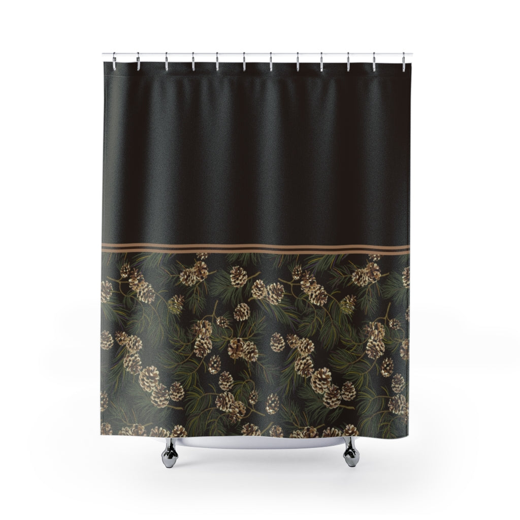 Pine Cone Pattern on Contrast Shower Curtain