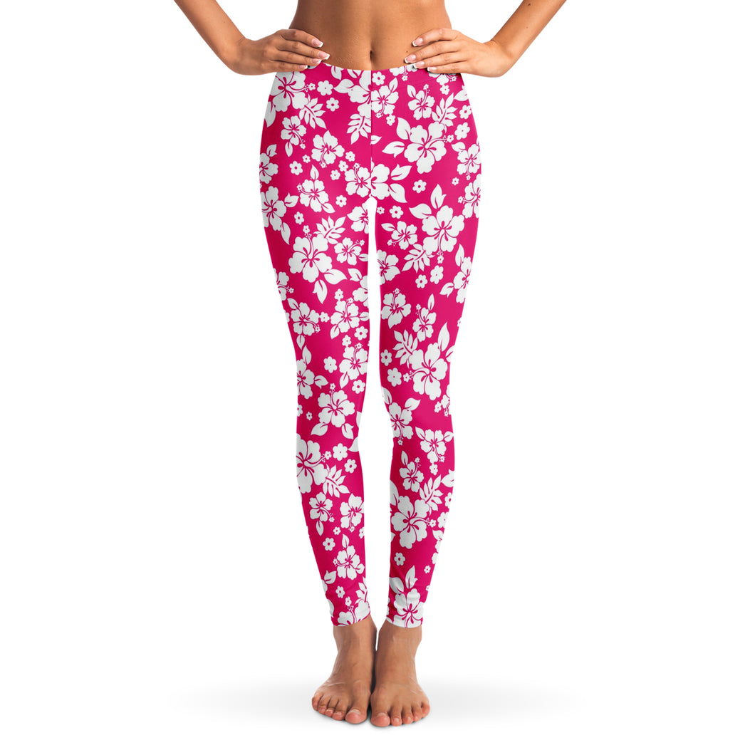 Hot Pink and White Hibiscus Hawaiian Flower Pattern Leggings XS - XL Squat Proof