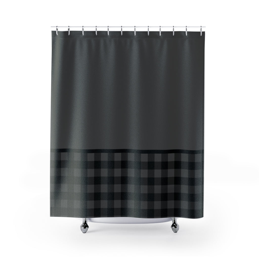 Gray and Black Buffalo Plaid Contrast Color Block Pattern Shower Curtain Rustic Home Decor