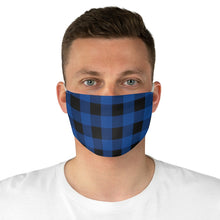 Load image into Gallery viewer, Dark Blue and Black Buffalo Plaid Printed Cloth Fabric Face Mask Country Buffalo Check Farmhouse Pattern