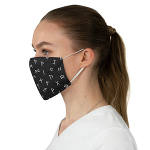 Black With White Runes Fabric Face Mask Printed Cloth