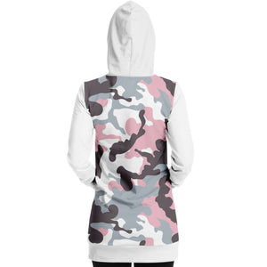 White and Pastel Mauve Camouflage Longline Hoodie Dress With Solid White Sleeves, Pocket and Hood