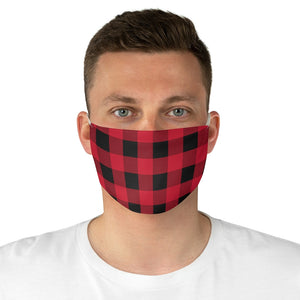 Red and Black Buffalo Plaid Printed Cloth Fabric Face Mask Country Buffalo Check Farmhouse Pattern
