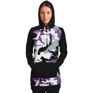 Purple and Black Camouflage Longline Hoodie Dress With Solid Black Sleeves, Pocket and Hood