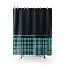 Load image into Gallery viewer, Black With Turquoise Plaid Pattern Contrast Color Block Shower Curtain