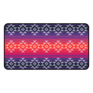 Serape Style Pink and Purple Desk Mat With Tribal Design Overlay Large