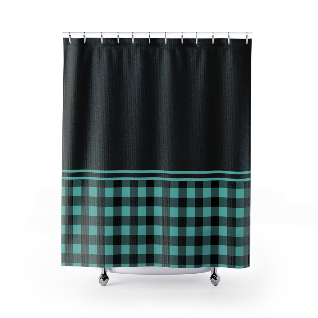 Turquoise Buffalo Plaid and Black Contrast Color Block Shower Curtain