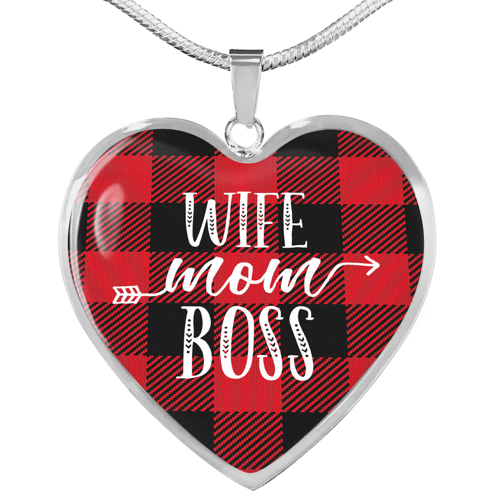 Wife Mom Boss Red Buffalo Plaid Heart Shaped Stainless Steel Pendant
