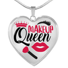 Load image into Gallery viewer, Makeup Queen Stainless Steel Heart Shaped Pendant Necklace Gift Set