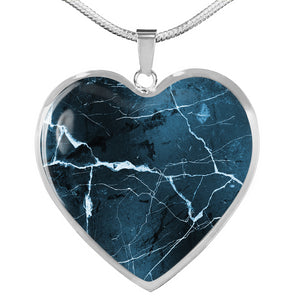 Dark Blue Marble Style Design On Heart Shaped Stainless Steel Pendant