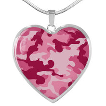 Load image into Gallery viewer, Pink Camouflage Heart Shaped Stainless Steel Pendant Necklace