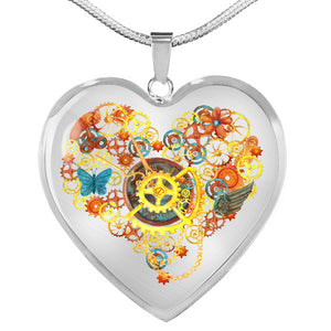 Steampunk Heart With Gears and Butterflies Pendant