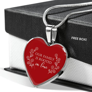 Our Family Is Rooted In Love Red Heart Pendant Necklace