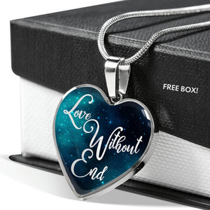 Love Without End Teal Galaxy Heart Shaped Pendant Necklace Gift Set