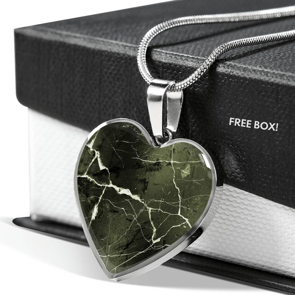 Green Marble Design On Stainless Steel Heart Shaped Pendant
