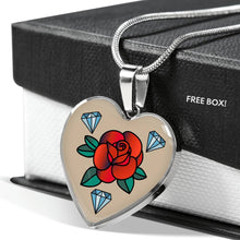 Load image into Gallery viewer, Rose Tattoo Old School Vintage Style Heart Shaped Pendant Necklace
