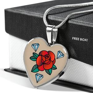 Rose Tattoo Old School Vintage Style Heart Shaped Pendant Necklace